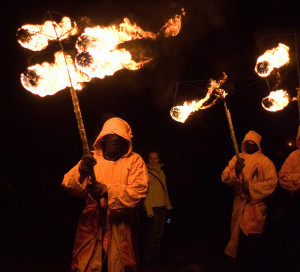 This is not in the least bit creepy. U.K. Imbolc procession. Photo: Steven Earnshaw via Flickr.